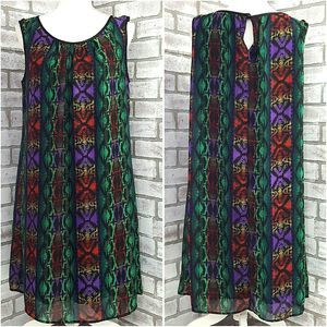 Connected Shift Dress Sleeveless Multi Color